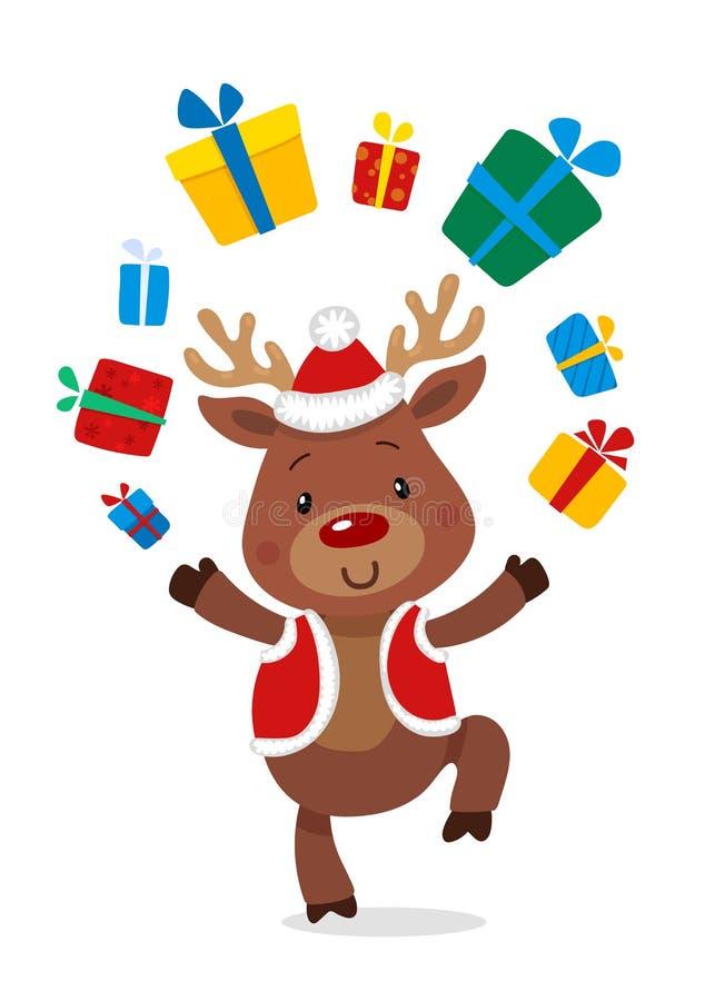 Santas Reniferowy Rudolph i prezenty Wektorowe ilustracje Odizolowywać na Białym tle Reniferowy Rudolf ilustracji