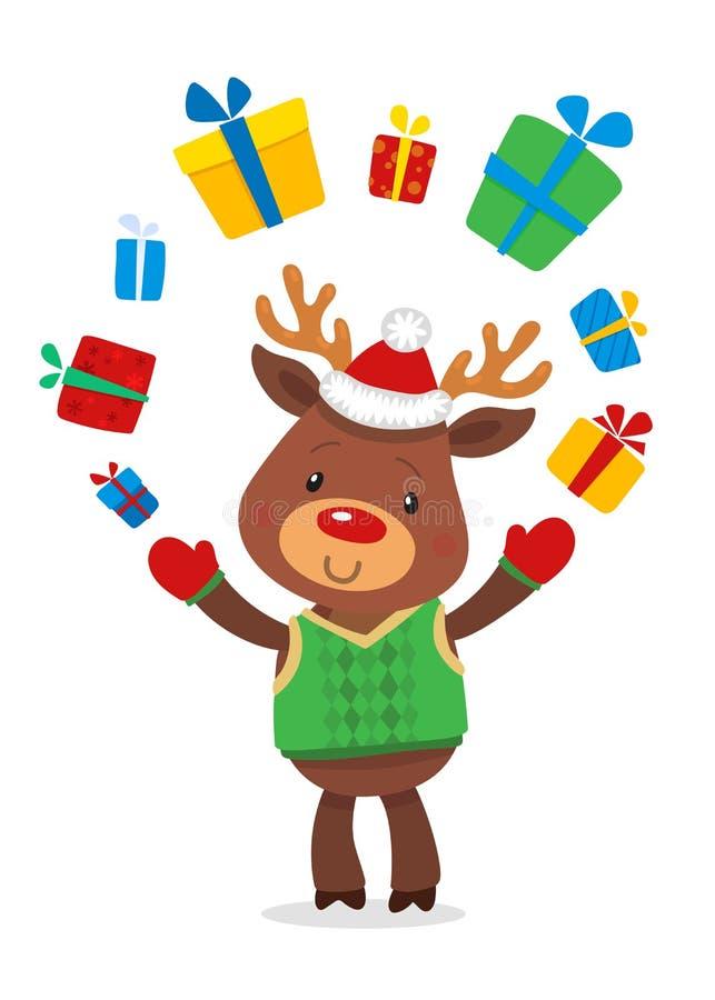 Santas Reniferowy Rudolph i prezenty Wektorowe ilustracje Odizolowywać na Białym tle Reniferowy Rudolf ilustracja wektor