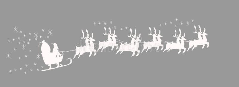 Santas släde med renen royaltyfri illustrationer