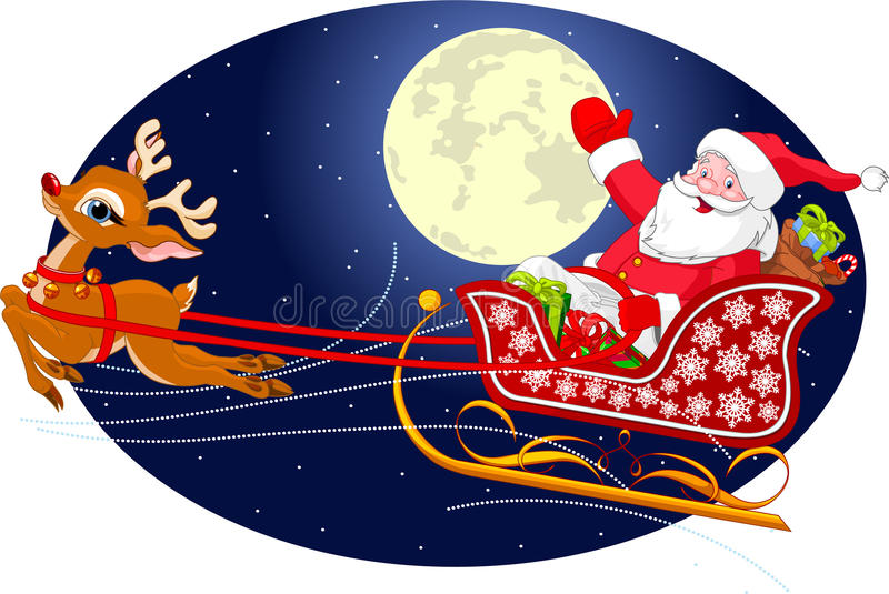 Santas Sled. Cartoon illustration of Santa Claus flying his sleigh through the night sky. Layered file for easier editing