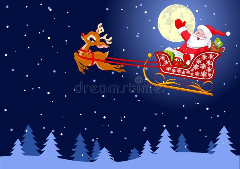 Santas Sled royaltyfri illustrationer