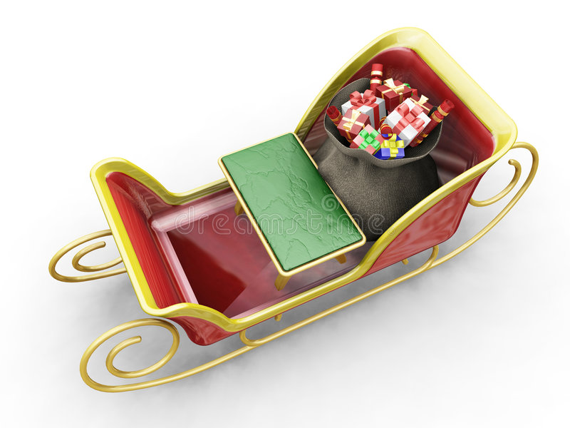 santas sleigh royaltyfri illustrationer