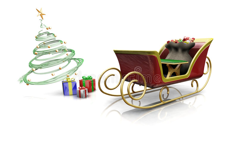 santas sleigh vektor illustrationer