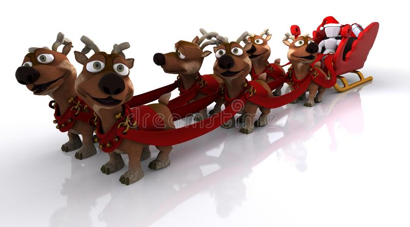 Santas sleigh och ren stock illustrationer