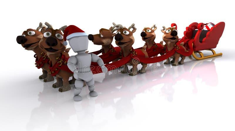Santas Sleigh And Reindeer Royalty Free Stock Photo