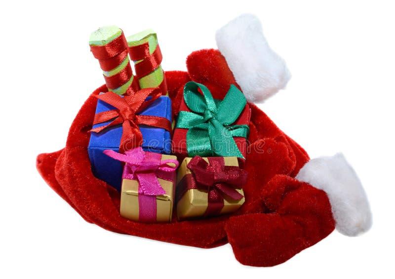 Santas torba z prezentami i mitynkami zdjęcie stock