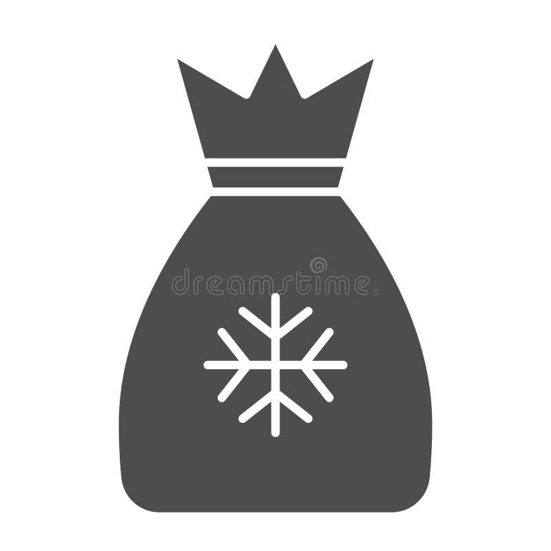 Santas torby bryły ikona Zdojest z teraźniejszości wektorową ilustracją odizolowywającą na bielu Boże Narodzenie torby glifu styl ilustracja wektor