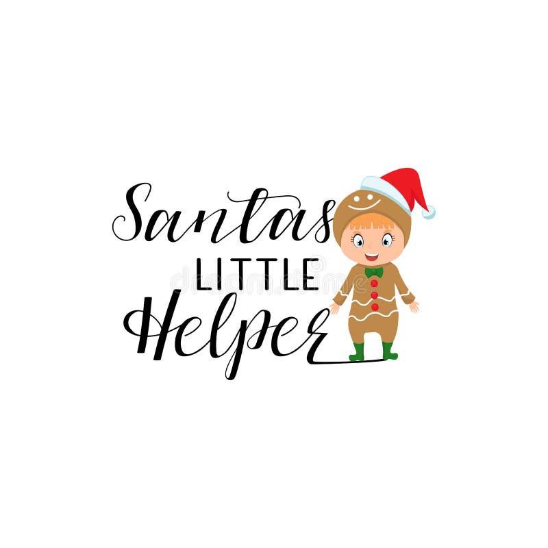 Santas weinig Helperhand het van letters voorzien Vector illustratie vector illustratie