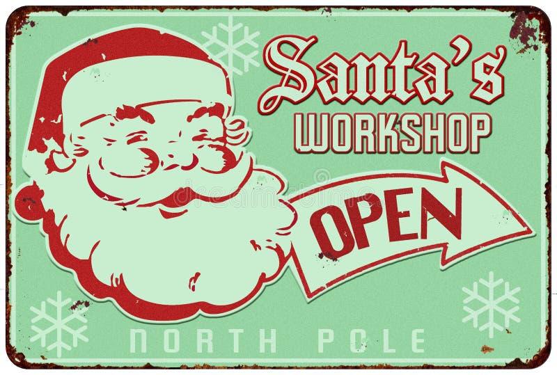 Santas Workshop Vintage Sign. Santa`s Workshop Vintage old Tin Sign Open Holiday Card stock illustration