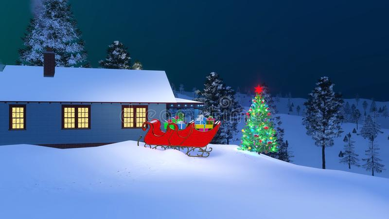 Santashuis voor Kerstmis bij nacht wordt verfraaid die vector illustratie