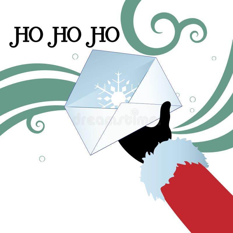 Santass handinnehav och kuvert vektor illustrationer