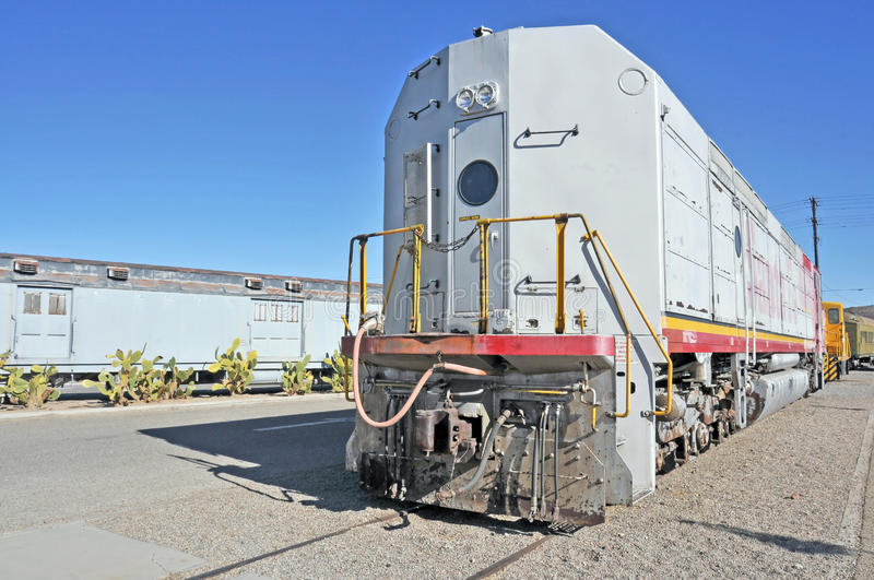 Sante Fe Locomotive. This is the rear of a retired locomotive used by the Sante Fe Railroad to haul passenger as well as freight cars stock photo