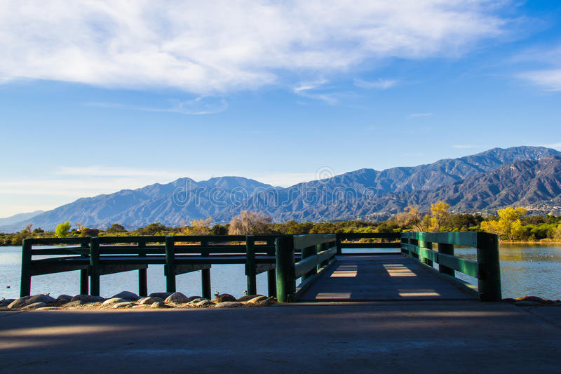 Sante Fe Recrational Area Dock. This is the dock at the Sante Fe Dam Recreational Area outside of downtown Los Angeles, California. The beautifully secluded park royalty free stock image