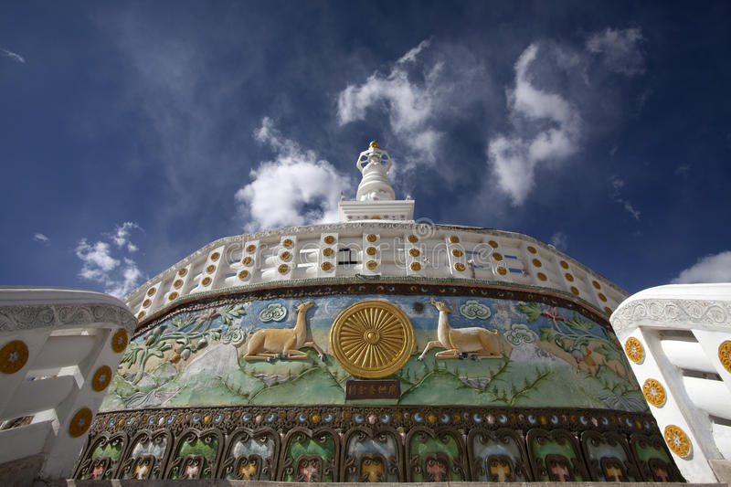 Santi Stupa exterior in Leh city,Ladakh,India. Santi Stupa is a holy and religions place for Buddhists stock images