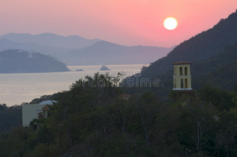 Santiago Bay Sunrise and Mountains in Manzanillo royalty free stock image