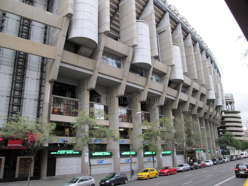 Santiago Bernabéu Stadium Paseo de la Castellana Spain Europe. NnThe Santiago Bernabéu Stadium is a sports venue owned by the Real Madrid Football Club stock photo