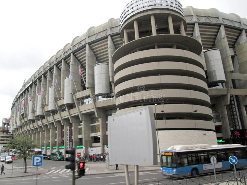 Santiago Bernabéu Stadium Paseo de la Castellana Spain Europe. NnThe Santiago Bernabéu Stadium is a sports venue owned by the Real Madrid Football Club stock images