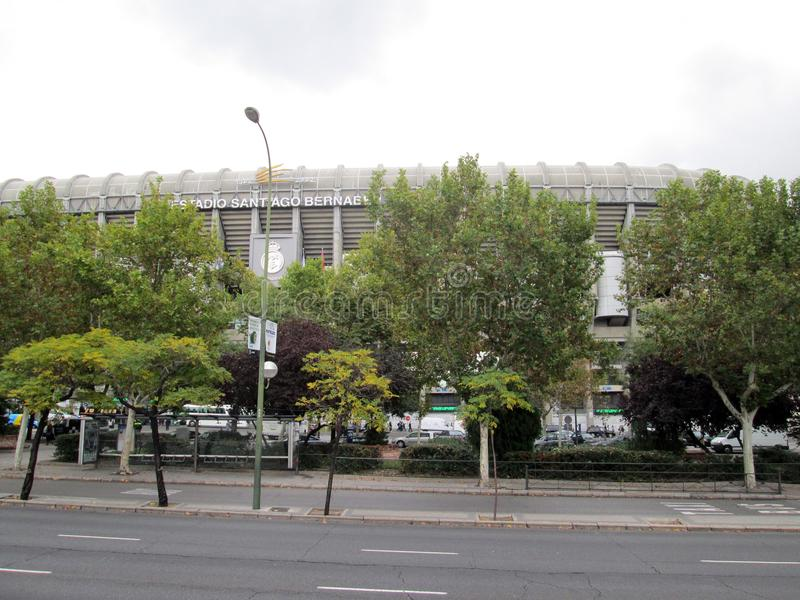 Santiago Bernabéu Stadium Paseo de la Castellana Spain Europe. NnThe Santiago Bernabéu Stadium is a sports venue owned by the Real Madrid Football Club stock image