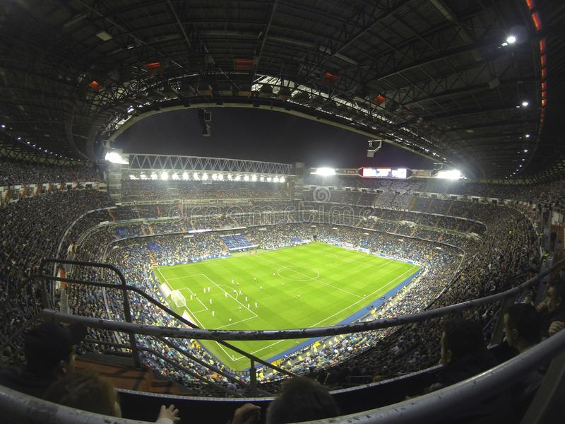 Santiago Bernabeu Stadium during a Real Madrid match in 2016. Madrid, Spain; October 23, 2016; League match between Real Madrid and Athletic Bilbao at the royalty free stock photos