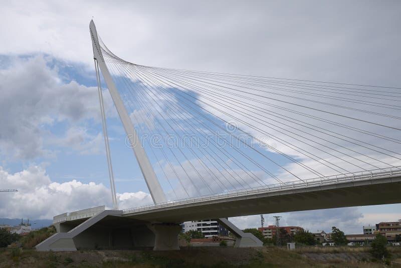 Santiago Calatrava bridge. Cosenza, Italy - June 13, 2018 : Santiago Calatrava bridge in Cosenza royalty free stock photo