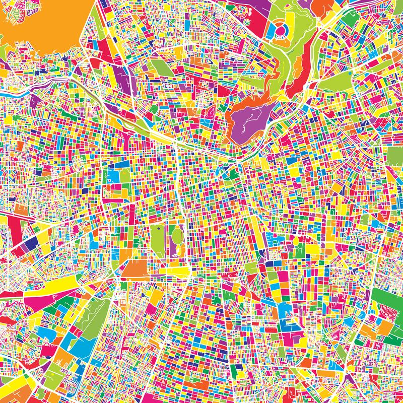 Santiago, Chile, kolorowa wektorowa mapa ilustracja wektor