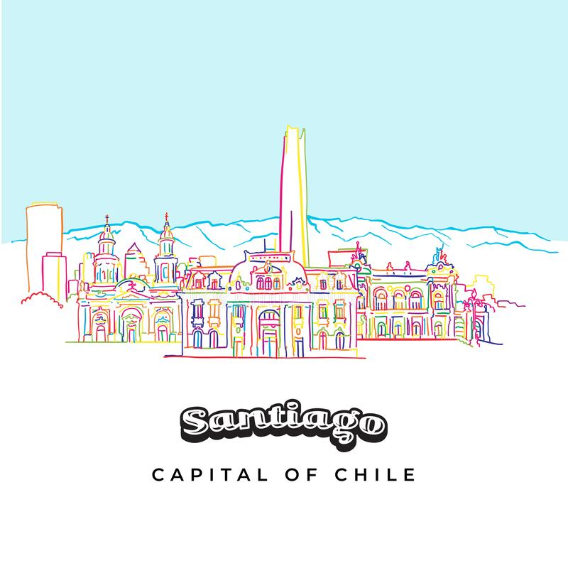 Santiago Chile kolorowej architektury kreskowa sztuka ilustracji