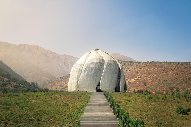Bahai House of Worship Temple and Andes Mountains - Santiago, Chile royalty free stock photos