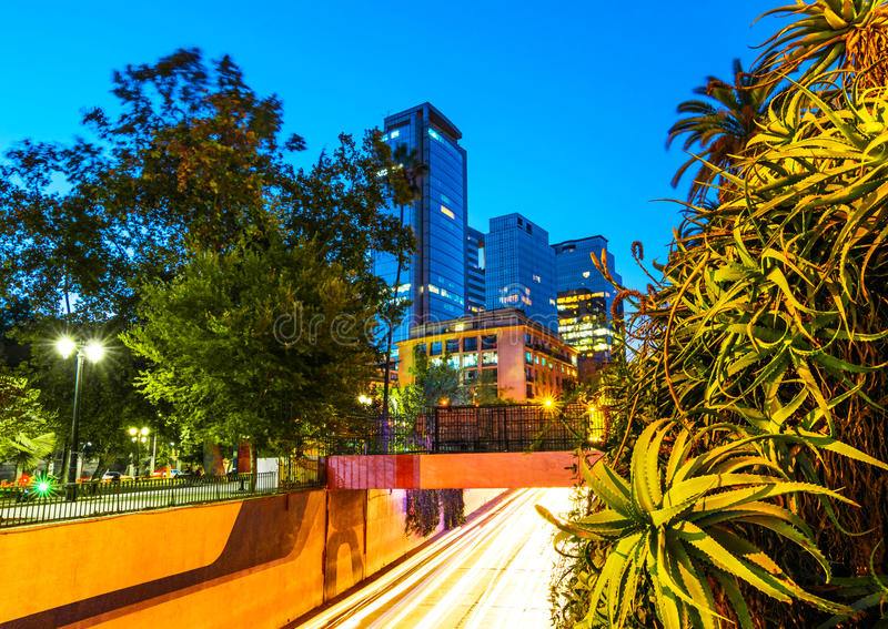 Santiago, Chile - Night view of streets stock image