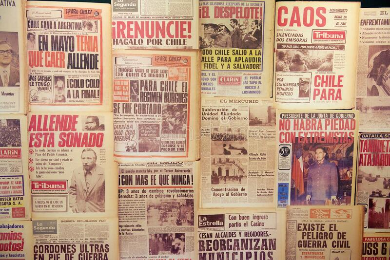 Collage of the newspapers describing events of Chilean crisis of 1973 in Santiago, Chile. Santiago, Chile - October 17, 2013: Collage of the newspapers royalty free stock photos