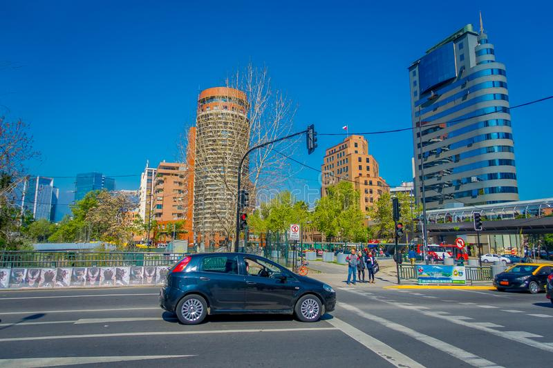 SANTIAGO, CHILE - OCTOBER 16, 2018: Outdoor view of cars in the street circulating in the financial center buildings. Skyline of Santiago de Chile in a gorgeous royalty free stock images