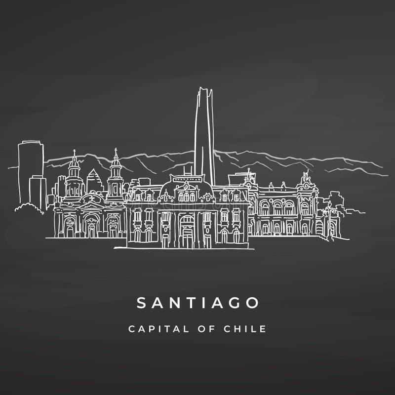 Santiago Chile sławni budynki rysuje na blackboard ilustracja wektor