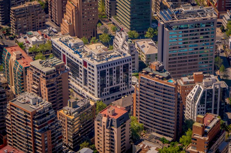 SANTIAGO, CHILE - SEPTEMBER 13, 2018: Above beautiful landscape view of Santiago of Chile from Costanera Center in Chile.  stock photo