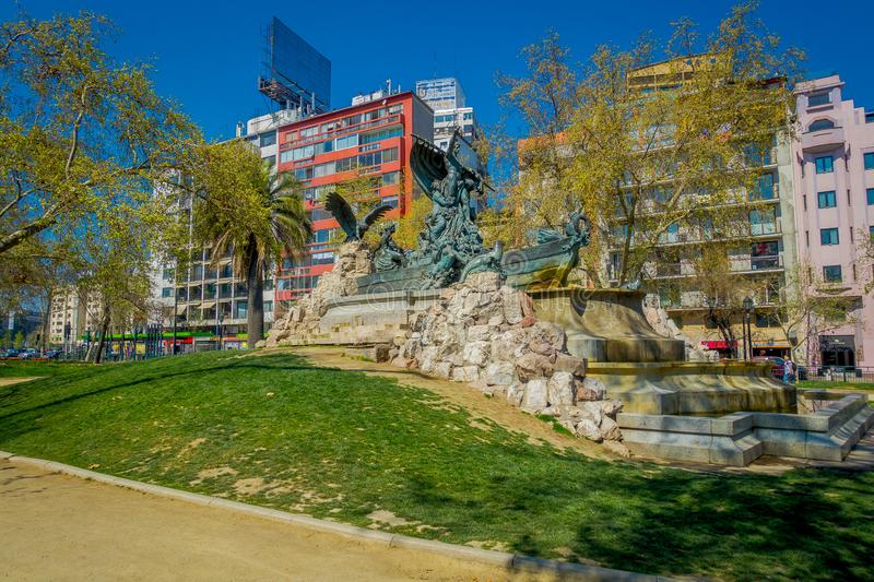 SANTIAGO, CHILE - SEPTEMBER 17, 2018: Outdoor view of the German Fountain built at 1912 at Parque Forestal, Santiago. Chile in gorgeous sunny day with blue sky royalty free stock images