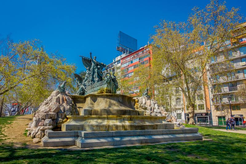 SANTIAGO, CHILE - SEPTEMBER 17, 2018: Outdoor view of the German Fountain built at 1912 at Parque Forestal, Santiago. Chile in gorgeous sunny day with blue sky royalty free stock photo