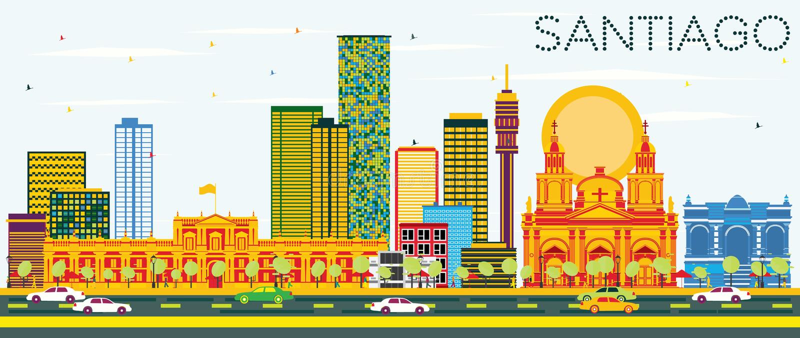 Santiago Chile Skyline com construções da cor e o céu azul ilustração stock
