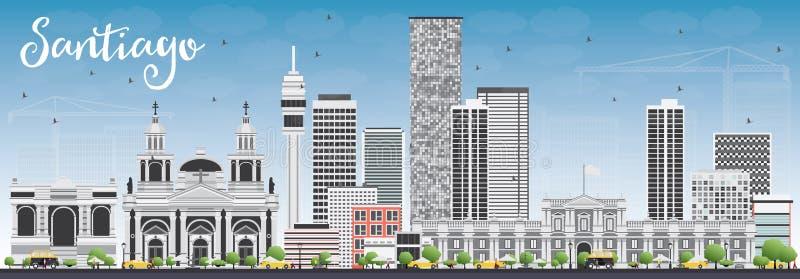 Santiago Chile Skyline com Gray Buildings e o céu azul ilustração do vetor