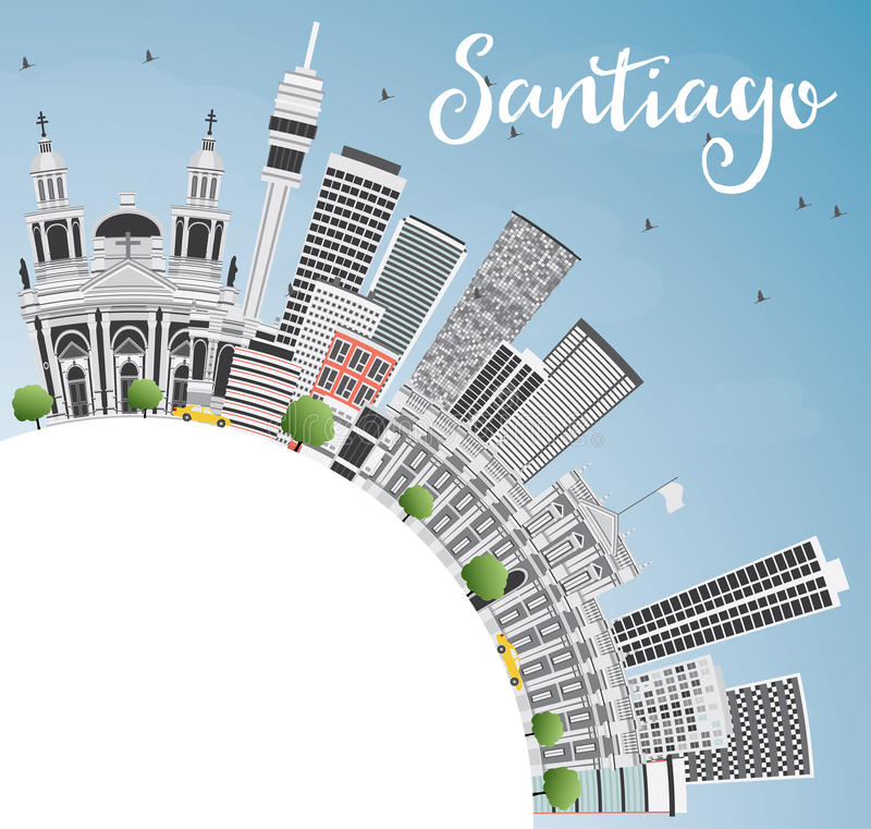 Santiago Chile Skyline met Gray Buildings, Blauw Hemel en Exemplaar SP vector illustratie