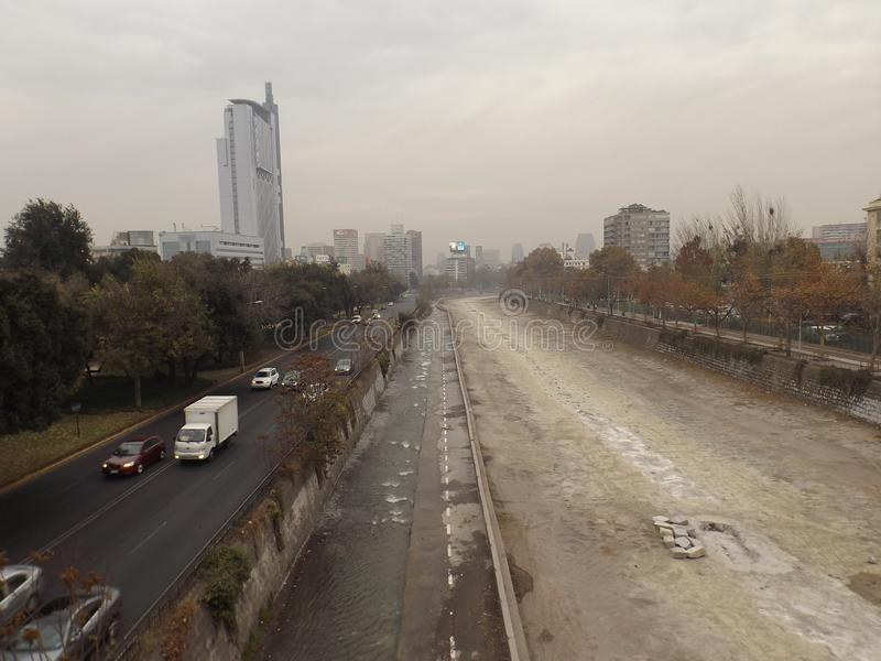Santiago, Chile in winter stock images