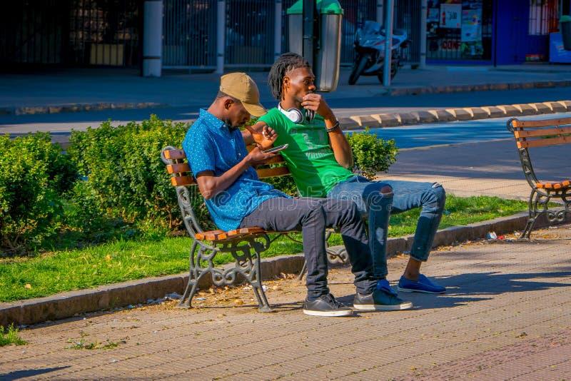 SANTIAGO CHILE, WRZESIEŃ, - 13, 2018: Niezidentyfikowani ludzie siedzi w jawnym drewnianym krześle relaksuje przy Yungay parkiem obrazy stock