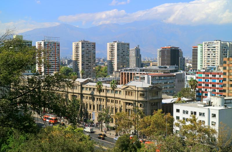 Santiago City Center View de Santa Lucia Hill, Santiago, Chili photographie stock