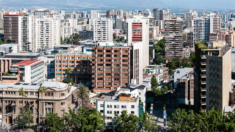 Santiago de Chile. Is the capital and primate city of Chile. The metropolitan area is part of the Capital Region (Región Metropolitana), in addition to the royalty free stock photo