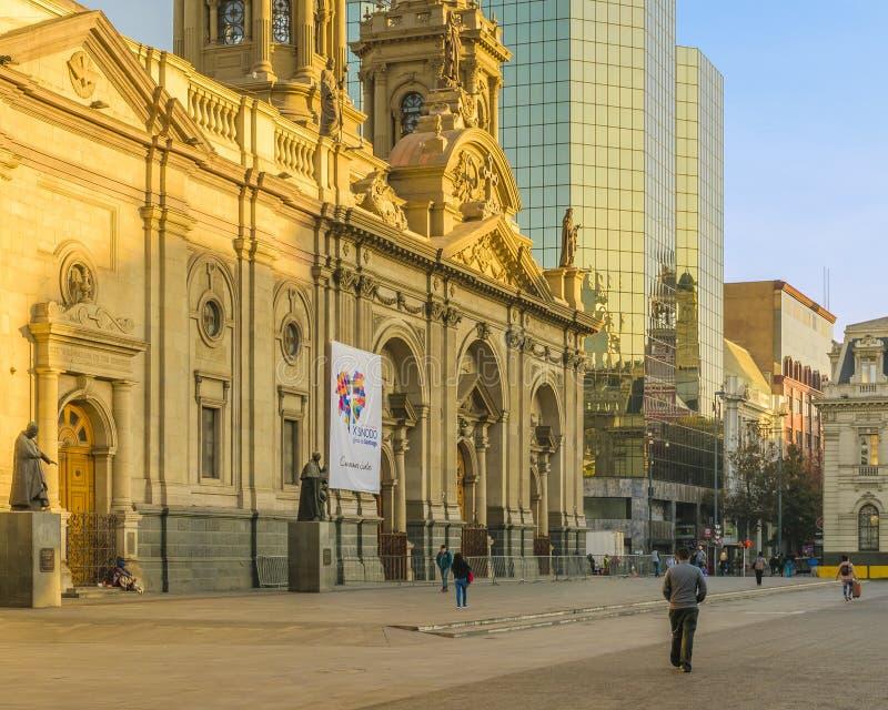 Metropolitan Cathedral, Armas Square, Santiago de Chile royalty free stock photos