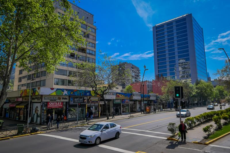 SANTIAGO DE CHILE, CHILE - OCTOBER 16, 2018: Cars in the streets circulating in the city of Santiago of Chile in a. Gorgeous sunny day with bluesky, in Chile royalty free stock images