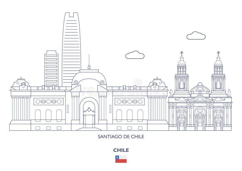 Santiago De Chile City Skyline, o Chile ilustração do vetor