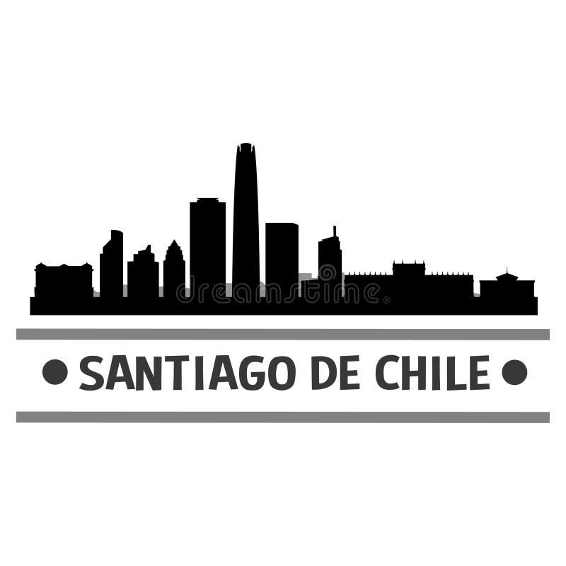 Santiago de Chile linii horyzontu miasta ikony sztuki Wektorowy projekt royalty ilustracja