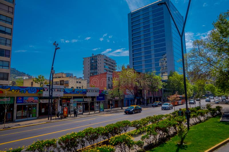 SANTIAGO DE CHILE, CHILE - OCTOBER 16, 2018: Cars in the streets circulating in the city of Santiago of Chile in a. Gorgeous sunny day with bluesky, in Chile stock photo