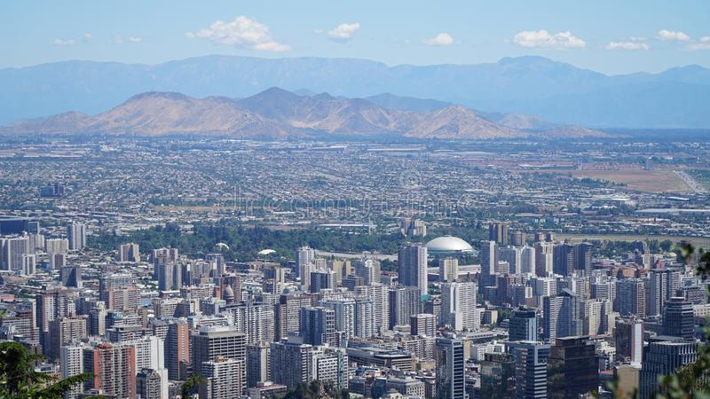 Santiago De Chile. View of buildings at Providencia and Las Condes districts, the most dense part of the city with residential and office buildings, Santiago de stock photo