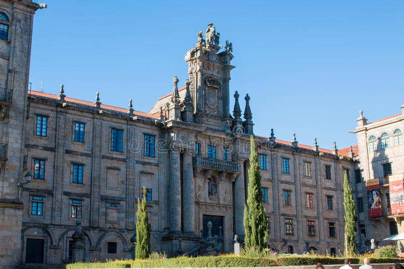 Santiago de Compostela é a capital de Spain's noroeste galão imagens de stock