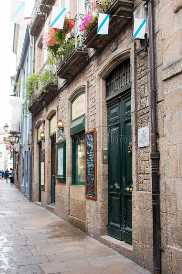 Santiago de Compostela é a capital de Spain's noroeste galão imagem de stock