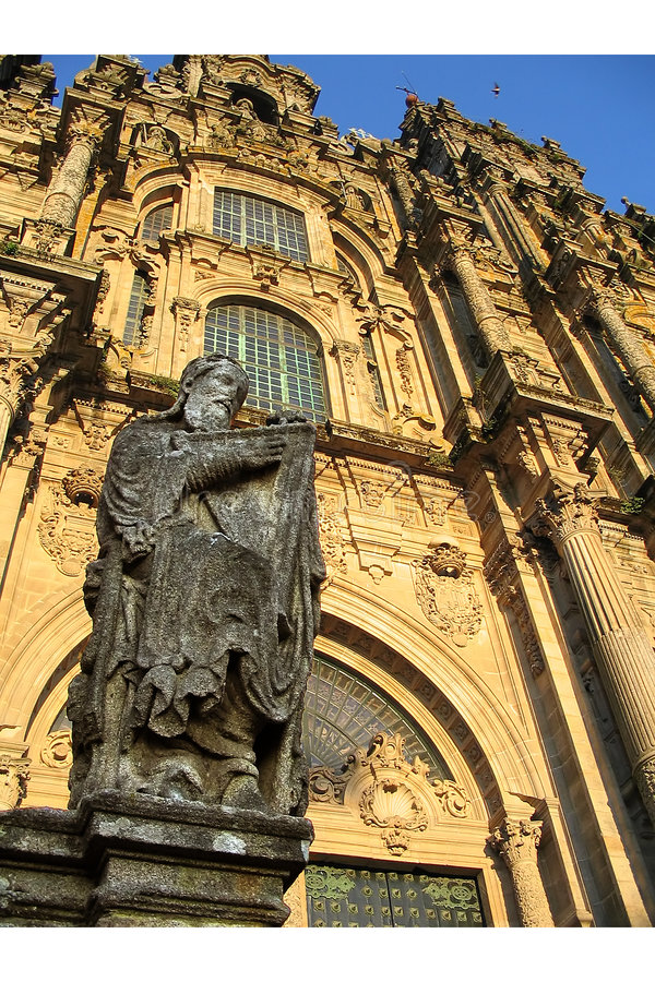 Download Santiago De Compostela Cathedral - Detail Stock Image - Image of front, path: 173791